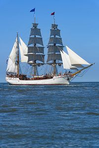 Drieemaster bark Artemis klassiek zeilt op de Waddenzee