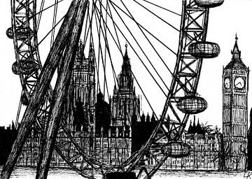 Londen, the London Eye van Lonneke Kolkman