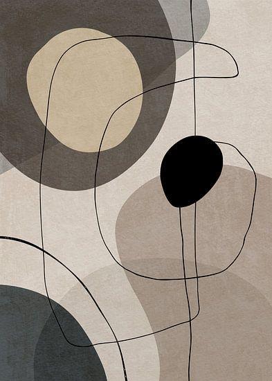 Abstracte Kunst Met Geometrische Organische Vormen En Lijnen