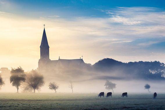 church in the morning fog