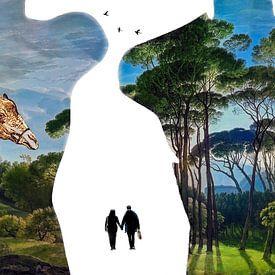 Paradise shopping (contouren met giraffe en schilderij)) van Ruben van Gogh