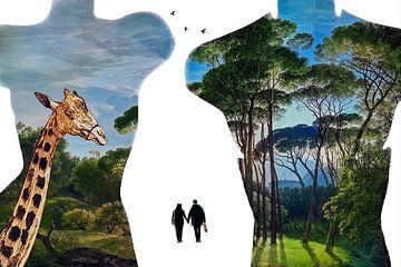 Paradies-Shopping (Umriss mit Giraffe und Gemälde) von Ruben van Gogh