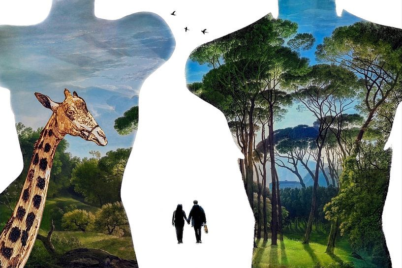 Paradise shopping (met giraffe) van Ruben van Gogh