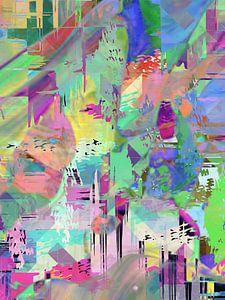 Modern, Abstract Digitaal Kunstwerk in Diverse kleuren van Art By Dominic