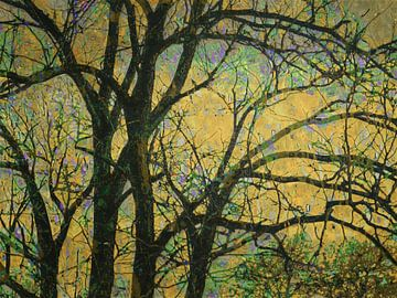 Zonsondergang aan de rand van het bos. van Anna Marie de Klerk
