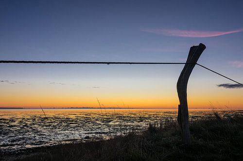Sunrise on the North Sea coast on the island Amrum