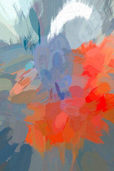 Abstract oranje van Leo Luijten