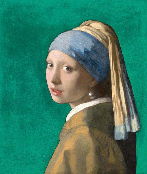 Mädchen mit dem Perlenohrring, grün - Johannes Vermeer von Marieke de Koning