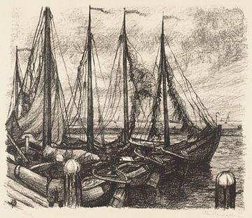 Fischerboote in einem Hafen, Otto Hanrath, 1923 von Atelier Liesjes