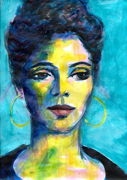 Blaues Porträt von Lucienne van Leijen