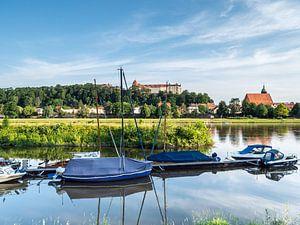 Vue des rives de l'Elbe à Pirna en Saxe