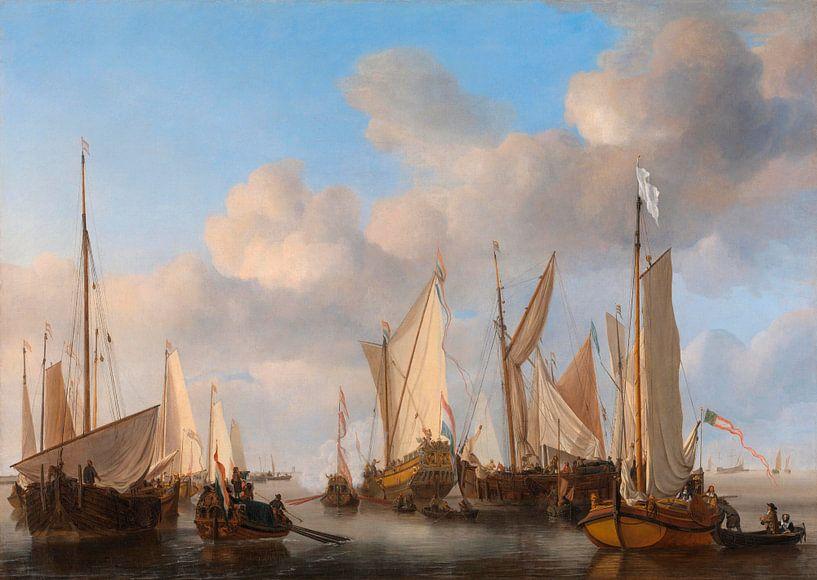 Eine niederländische Yacht salutiert, Willem van de Velde von Meesterlijcke Meesters