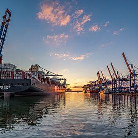 Port de Hambourg Waltershof 16:9 Panorama sur Joachim Fischer