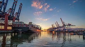 Hamburger Hafen Waltershof 16:9 Panoramabild von Joachim Fischer