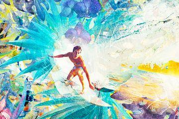 Surfer im tropischen Golfsport von Giovani Zanolino