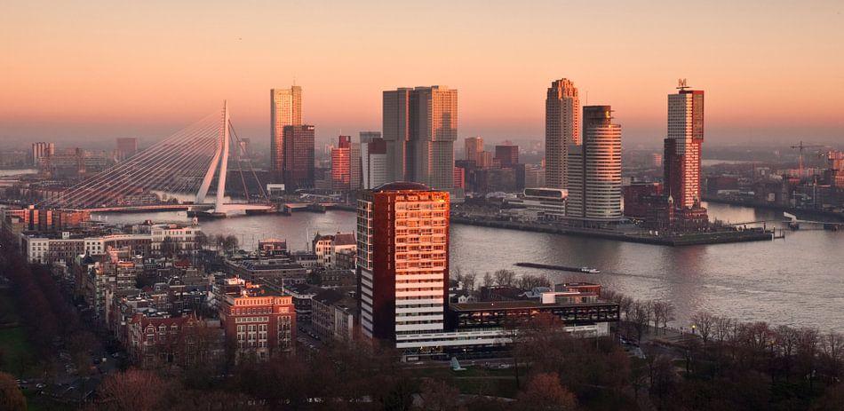Rotterdam Skyline in Red van Jan Sluijter