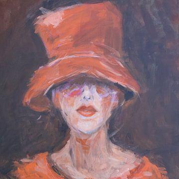Chapeau orange van Mieke Daenen