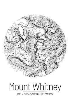 Mount Whitney | Kaart Topografie (Minimaal) van ViaMapia