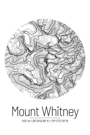 Le Mont Whitney | Topographie de la carte (Minimal)