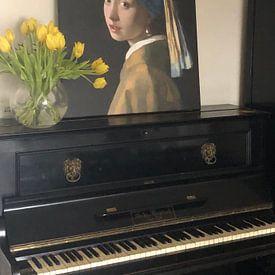 Photo de nos clients: La Jeune Fille à la perle - Vermeer tableau sur Schilderijen Nu, sur toile