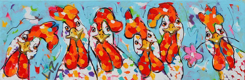 Chicken Girls van Vrolijk Schilderij