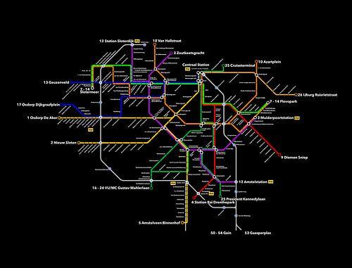 Tramlijnen van Amsterdam zwart