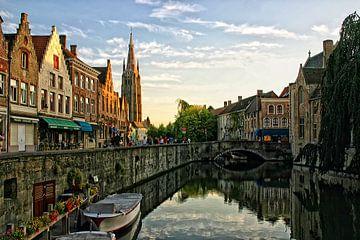 Brugge in avondlicht van Jack Tol