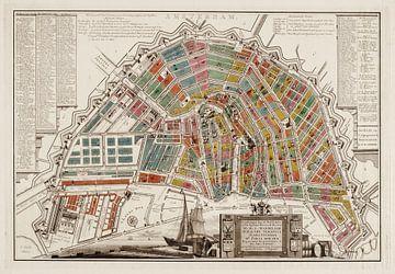 Amsterdam, gedetailleerde oude stadsplattegrond en index 1765 van Atelier Liesjes
