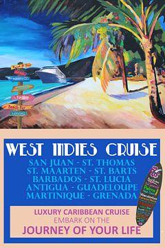 West Indies Kreuzfahrt Retro Reise Poster von Markus Bleichner