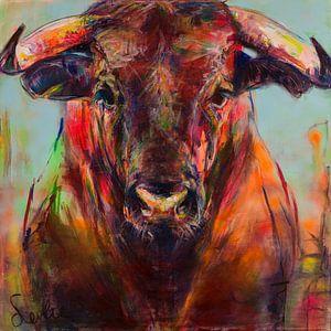 Peinture d'un portrait de taureau sur Liesbeth Serlie