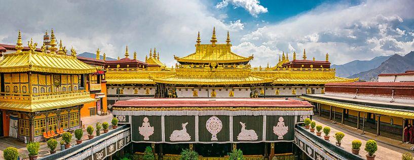 Op het dak van de Jokhang tempel in Lhasa, Tibet van Rietje Bulthuis