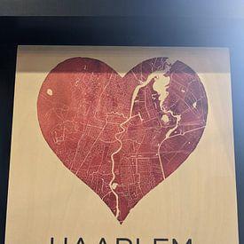 Klantfoto: Liefde voor Haarlem  |  Stadskaart in een hart van Wereldkaarten.Shop, op hout