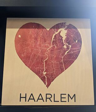 Klantfoto: Liefde voor Haarlem  |  Stadskaart in een hart van Wereldkaarten.Shop