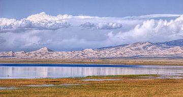 Qinghai meer met bergen, blauwe lucht en de indrukwekkende wolken van Tony Vingerhoets