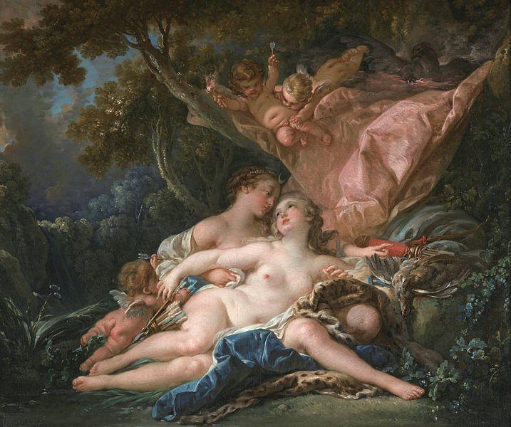 Jupiter in der Gestalt der Diana und die Nymphe Callisto, François Boucher von Meesterlijcke Meesters
