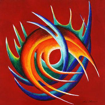 Dynamische sculptuur in rood, blauw, groen en oranje van Ine Straver