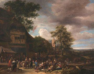 Dorfbewohner beim Fröhlichsein vor einem Gasthaus, Jan Steen