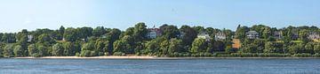 Elbufer en villa's aan de Elbchaussee (breedbeeldfoto) van Norbert Sülzner