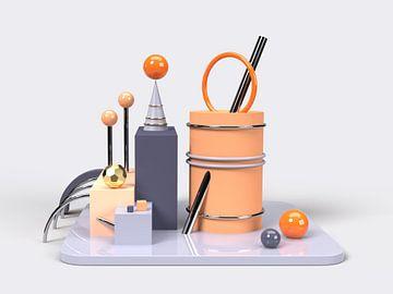 3D Abstrakte Kunst Blau Orange 1 von shoott photography