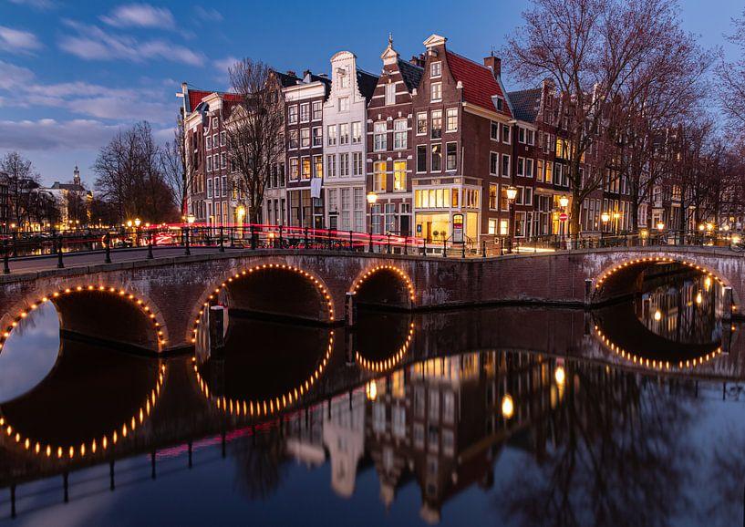Hoek Keizersgracht/Leidsegracht Amsterdam van Remy Kremer