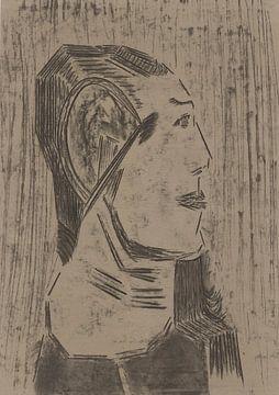 En profil portret, vrouw van Wouter Springer