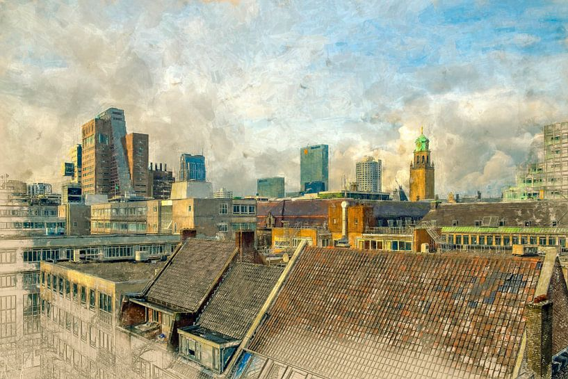 Bemalte Rotterdamer Dächer I von Arjen Roos