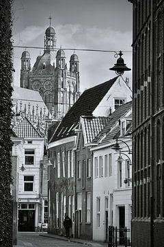 Die Waterstraat Den Bosch schwarz und weiß von Den Bosch aan de Muur