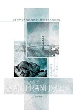 Poster Art SAN FRANCISCO Baker Beach von Melanie Viola