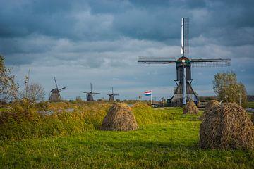 Blokweerse molen bij Kinderdijk. van Adri Vollenhouw