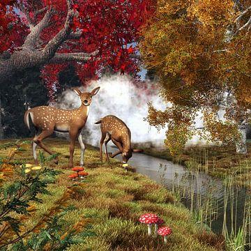 Tierreich  – Zwei Hirsche im Wald von Jan Keteleer