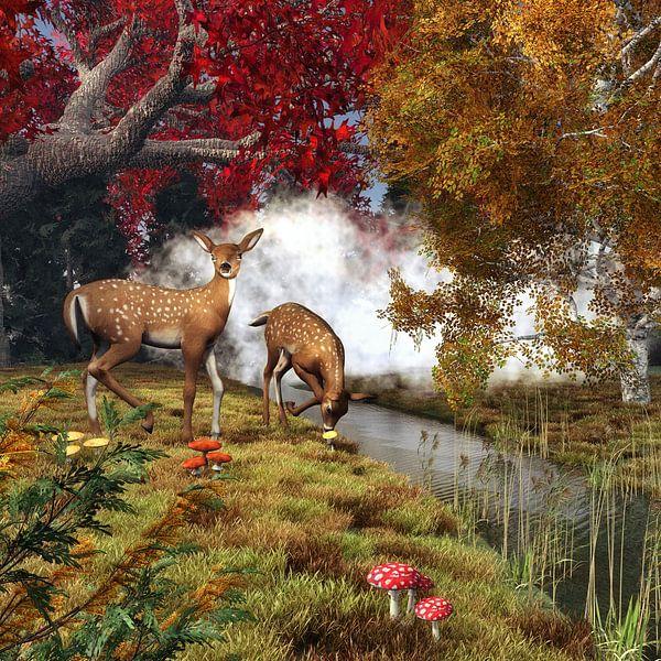 Dierenrijk – Twee herten in het bos van Jan Keteleer