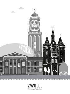Skyline-Illustration Stadt Zwolle schwarz-weiß-grau