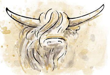 Waterverf kunstwerk van schotse hooglander - inktpen tekening ingekleurd in goud bruine en krijt wit van Emiel de Lange