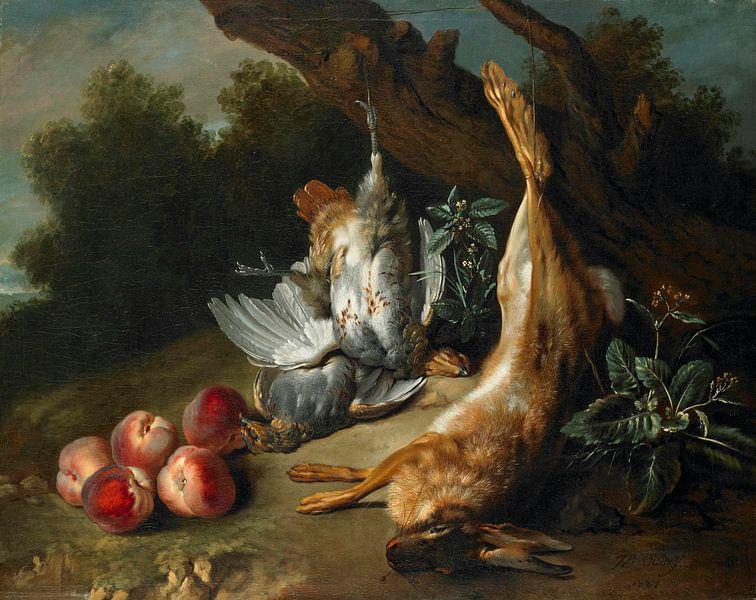 Stilleben mit totem Wild und Pfirsichen in einer Landschaft, Jean-Baptiste Oudry von Meesterlijcke Meesters